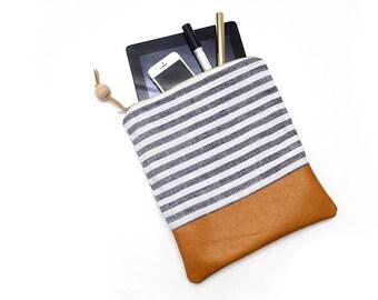 Leather clutch, stripe handbag, tablet case, travel pouch