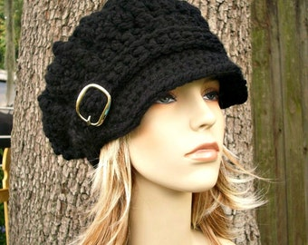 Crochet Hat Womens Hat Black Hat Black Newsboy Hat - Oversized Monarch Ribbed Crochet Newsboy Hat in Black Crochet Hat - Womens Accessories