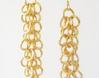Long Yellow Shaggy Loops Chainmaille Earrings Handmade