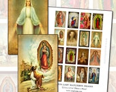 Our Lady  matchbox shrine digital collage sheet 2.1 x 1.3 in  54mm x 34mm Blessed Mother Holy Virgin