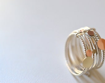 "Stacking 14K solid gold and silver multiple band, semainier, wedding  band,"" 9 sunny days"" ring,"