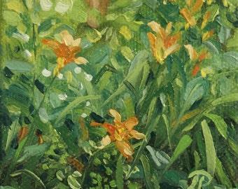 Mini oil painting Day Lilies original artwork
