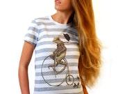 Frog Shirt - Women's Tshirt - Animal on Bike Shirt - Penny Farthing - Bicycle T-shirt - Animal on Bicycle