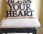 Burlap Charley Pillow - Bless Your Heart