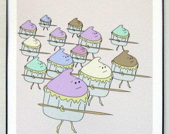 "Cupcake Army, Advancing 8.5"" x 11"" print"