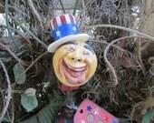 Patriotic Moon Mixed Media  Clay Sculpture Assemblage Original Primitive Folk Art Whimsical