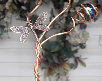 Plant Stake Butterfly Dragonfly  - Metal Art - Glass Copper Garden Art - Yard Lawn Outdoor PondBlack