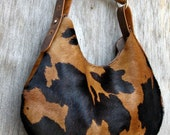 "Spotted Hair On Cowhide Leather Hobo Bag with ""Horn"" Handle by Stacy Leigh"