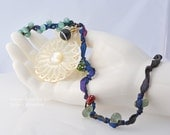 Artisan Statement Necklace - Sailor's Valentine - lampwork, vintage buttons, ribbon and Mother of Pearl pendant