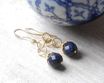 Midnight Blue Earrings, Goldstone, Sparkle, Night Sky, Gold,  Dangle Earrings