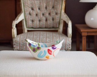 Bowl, Spring Bowl, Colorful Bowl, Jubilation Large Handle Bowl Fun Colorful Pottery Whimsical Serving Wedding Gift Happy Birthday Gift J