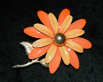 Vintage Orange Daisy Flower Pin, Funky 1960's High Fashion Pin, Brooch, Spring Time Flower, Daisy