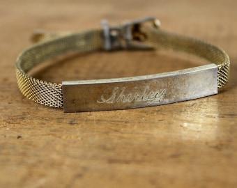 Vintage ID Bracelet • Nameplate Bracelet • 1960s Name Bracelet • Shirley Bracelet • Personalized Bracelet • Engraved Bracelet • Goldtone
