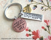 Triple GPS Coordinates Keychain.. Hand Stamped pendants. customize Lat/Long antiqued metal charm. skinny medium mini Copper, Silver or Gold