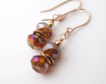 Caramel Crystal Aurora Borealis Earrings, Rose Goldfilled Hooks, Purple Blue Silver Gold Flash