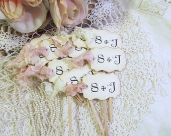 Wedding Cupcake Toppers Party Picks - Ivory Linen or Parchment- Bride & Groom Initials -  Personalized - Set of 18 - Choose Ribbons - Rustic