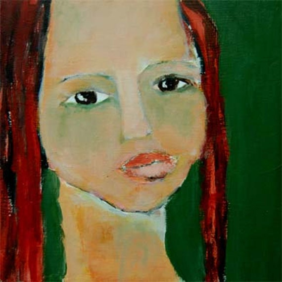 Acrylic Portrait Painting Judi, Girl, Face, Green, red hair 6x6 canvas board