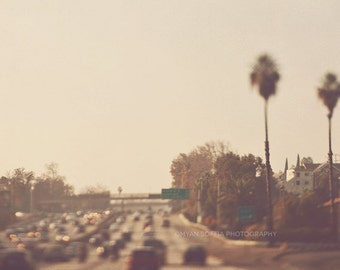 Los Angeles photography, California travel, bokeh lights, dreamy photo, City of Dreamers No. 2, palm trees warm LA traffic, brown gold