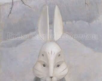 Rabbit 9x12 Fine Art Print, Rabbit Mask Art, Forest Painting - We Hide in the Forest (Rabbit)