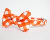 Dog Bow Tie Collar - Orange Gingham