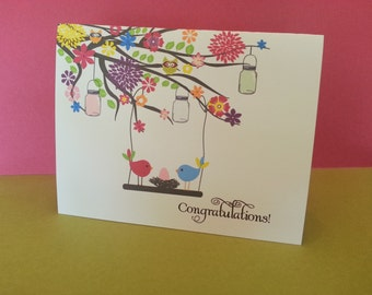New baby congratulations card birds nest