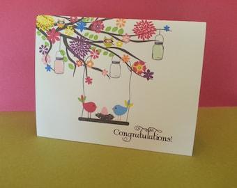 New baby congratulations card birds nest