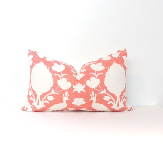 "12""x20"" Schumacher Chenonceau in Coral with Solid Linen Backside"