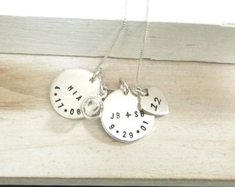 Mothers Necklace ... Mother's Personalized Jewelry,  Hand Stamped Jewelry ... Charm Necklace ... Chrildren's Names and Dates