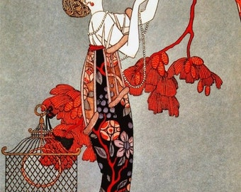 George Barbier Art Deco woman 11 x 16 inch Needlepoint Canvas