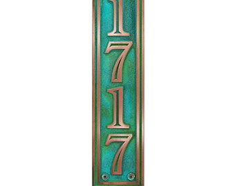 Hesperis Vertical Address Plaque for taller spaces  5 x 20 inches, up to 4 numbers