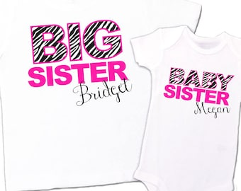 big sister shirt, little sister shirt - adorable zebra print and pink matching sibling set