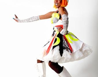 Banana Collage Dress / harajuku / bright colours / neon / crinoline / tutu / wild / sundress
