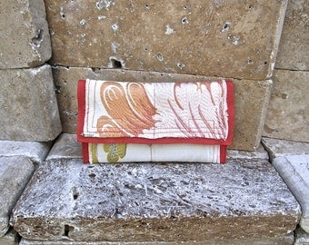 Feminine and Sassy Mini Carpet Bag Clutch, Repurposed Floral Upholstery Fabric, Licorice Red Textured Leather