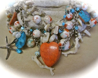 SALE I Heart the Sea: Shell Statement Necklace Vintage Assemblage BEACH WEDDING Mermaid Heart Abalone Mother of Pearl Coral Turquoise
