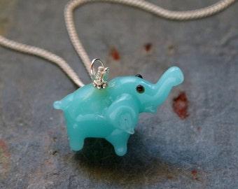 Turquoise Lampwork Elephant Necklace