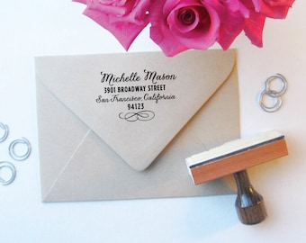 Chic Flourish Address Stamp - Calligraphy - Script - Custom Stamp - Address Stamp - Wedding Stamp - Feminine - Stylish - PRETTY CHIC