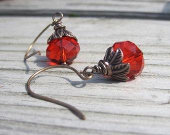 Pumpkin Earrings. Halloween Earrings. Fire Opal Crystals. Brass and Orange.