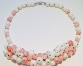 Lovely Vintage 50s  Milk glass and pink glass bead bib necklace // unsigned haskell