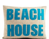 "BEACH HOUSE -  recycled felt applique pillow 14"" x 18"" - more colors available"