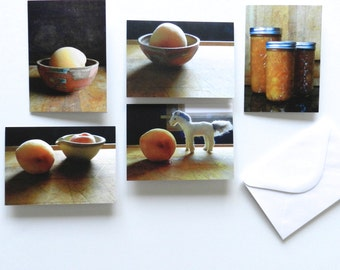 Fruit Note Card Set, Peach Photo Notecard Set, Blank Cards with Envelopes, Kitchen Notecards, Set of Five Photo Note Cards, All Occasion