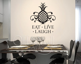 Eat Live Laugh -  Pineapple vinyl wall art sticker - dining room - kitchen