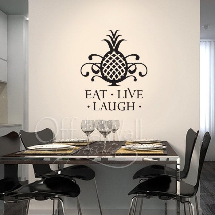 Eat live laugh pineapple vinyl wall art sticker dining for Dining room vinyl wall art