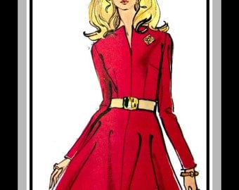 Vintage 1960s-POSH MOD DRESS-Vogue Sewing Pattern-Slit Neckline-Fitted Bodice- Flirty Flared Skirt-Featured in Vogue Magazine-Size 12-Rare