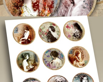 Printable download VINTAGE FOLLIES 2.5 inch circles for Pocket Mirrors Magnets Paper Weights Vintage images Digital Collage Sheet paper