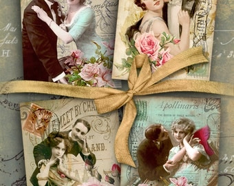 Printable Gift tags VINTAGE COUPLES Digital Collage Sheet, Jewelry holders, Ephemera Valentine greeting cards, Art Cult downloads