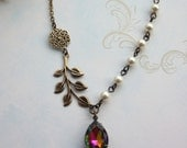 Antiqued Brass Leaf Branch, Rainbow Vitril Teadrop Pear Glass jewel Drop Necklace. Bridesmaids Gift Jewelry. Vintage Garden Theme Wedding.