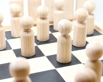 Unpainted Wooden Checker Set - Do It Yourself Supplies - DIY Little Wooden People board game