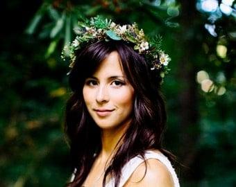 Bridal Greek Goddess Flower crown headpiece by Michele AmoreBride Greenery Headdress vine hairwreath barn wedding accessories gothic grecian