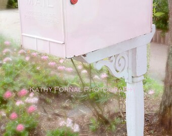 Pink Mailbox Note Card, Dreamy Pink White Shabby Chic Note Card, Pink Cottage Mailbox, Pink Mailbox Photo Note Cards, Pink Mailbox Notecard