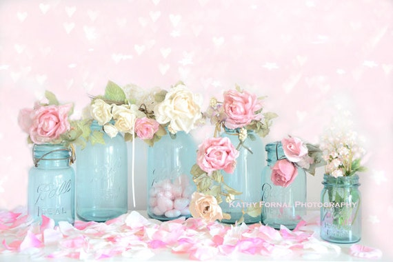 Roses romantiques Photo Print, décor Shabby Chic Roses, Aqua rose ...